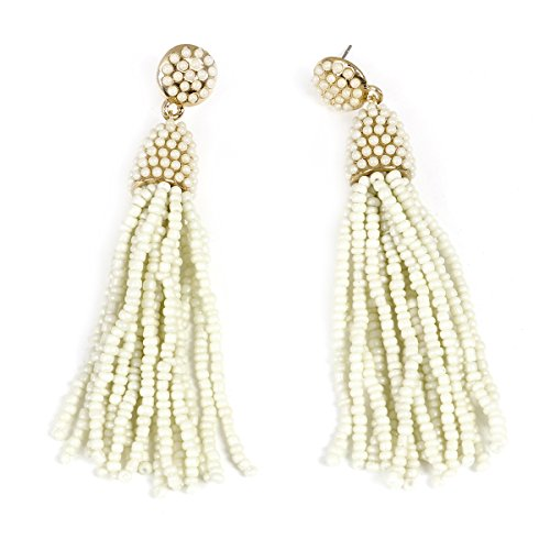 Sexy Sparkles Women's White Beaded tassel earrings Long Fringe Drop Earrings Dangle