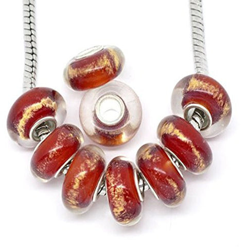 Ten Red W/gold Tone Lampwork Murano Beads for Snake Chain Bracelet - Sexy Sparkles Fashion Jewelry - 1