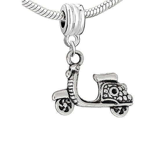 Scooter, Motorcylce Bike Dangle Charm European Bead Compatible for Most European Snake Chain Bracelet
