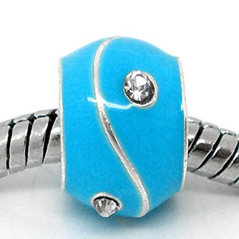Blue Rhinestone Enamel Silver Tone Bead Charm Spacer for Snake Chain Bracelets - Sexy Sparkles Fashion Jewelry - 1