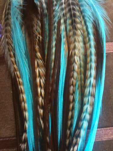 5 Feathers 4-6 Turquoise, Genuine Grizzly & Browns Extension for Hair Extension - Sexy Sparkles Fashion Jewelry