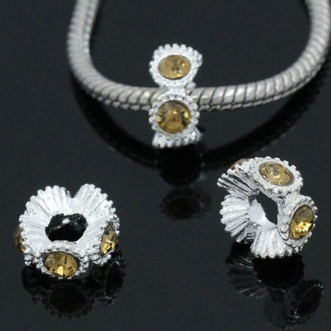 Flower with Yellow Rhinestones Charm Spacer For Snake Chain Charm Bracelets - Sexy Sparkles Fashion Jewelry - 3