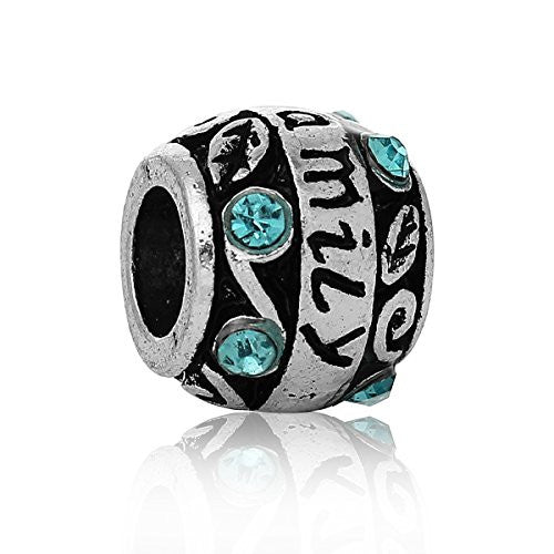 """Family""Carved Barrel Charm Bead w/ Blue Crystals"