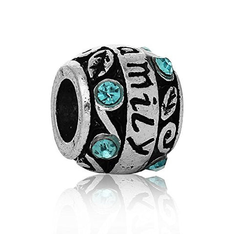 """Family""Carved Barrel Charm Bead w/ Blue Crystals - Sexy Sparkles Fashion Jewelry - 1"