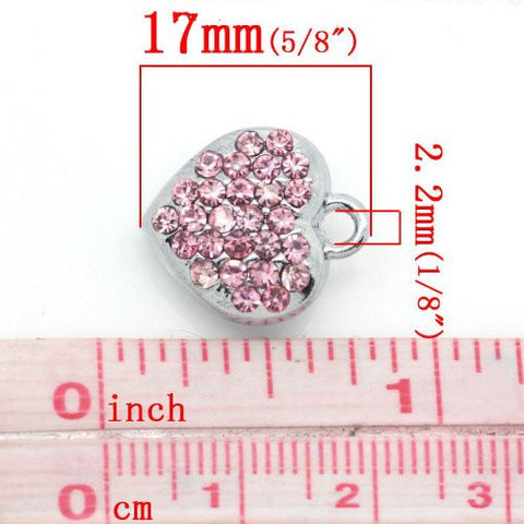 Pink Rhinestone Heart Dangle European Bead Compatible for Most European Snake Chain Bracelets - Sexy Sparkles Fashion Jewelry - 2