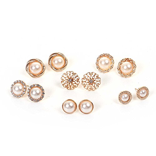 Sexy Sparkles 6 Pairs Small Stud Gold Plated Earrings Ear Posts Womens Girls Assorted Gold Plated