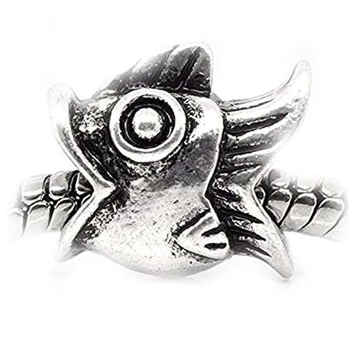 Fish Charm Spacer European Bead Compatible for Most European Snake Chain Bracelet