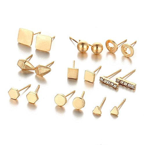 Sexy Sparkles 9 Pairs Small Gold Tone Stud Earrings Ear Posts Womens Girls Assorted