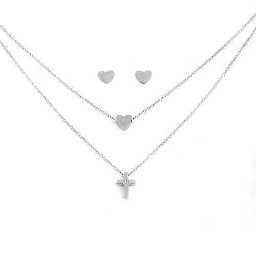 Sexy Sparkles Stainless Steel Jewelry Double Layered Cross Necklace with Heart Stud Earrings