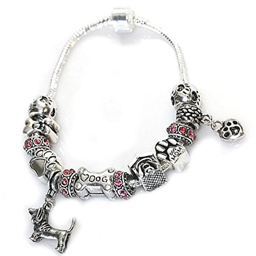7.5 inch Dog Lovers Snake Chain Charm Bracelet with Charms