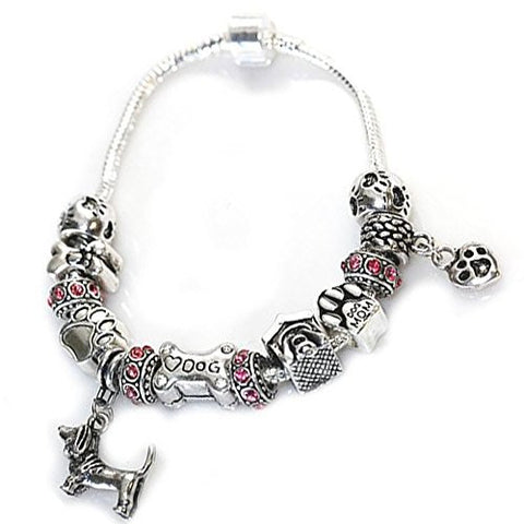 7.5 inch Dog Lovers Snake Chain Charm Bracelet with Charms - Sexy Sparkles Fashion Jewelry - 1