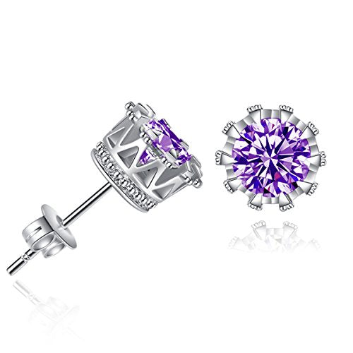 Sexy Sparkles Copper Ear Stud Earrings Purple Cubic Zirconia Inlaid Crown 9mm