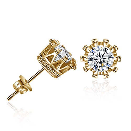 Sexy Sparkles Gold Tone Copper Ear Stud Earrings Cubic Zirconia Inlaid Crown 9mm