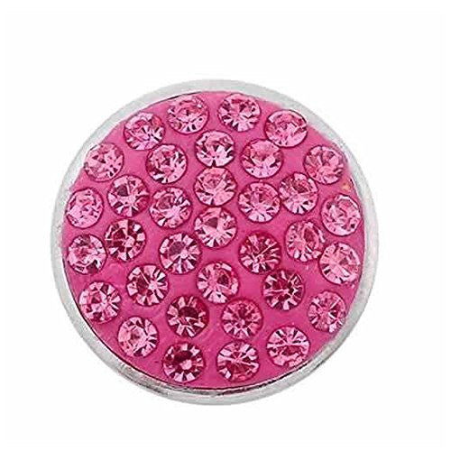 Dark Pink Crystals Chunk Snap Jewelry Button Round Silver Tone Fit Chunk Bracelets