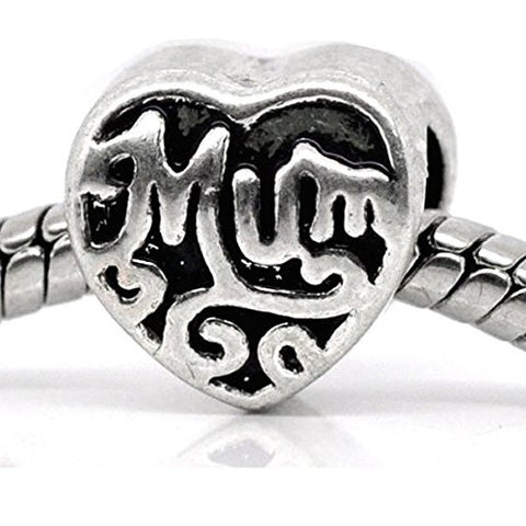 Mum Heart Charm European Bead Compatible for Most European Snake Chain Braceletss - Sexy Sparkles Fashion Jewelry - 1