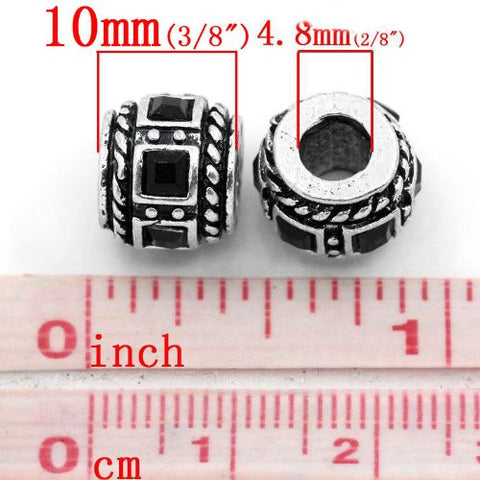 Black Crystal Charm Beads for Snake Chain Bracelets - Sexy Sparkles Fashion Jewelry - 2