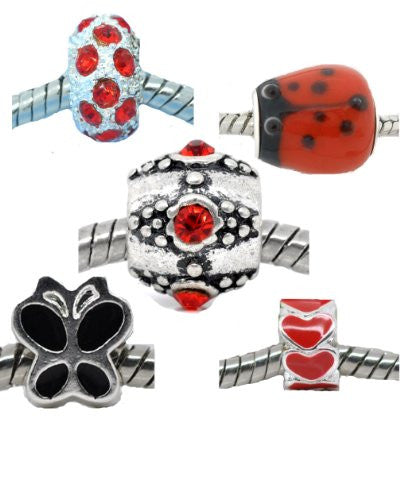 Set of 5 Charms Love Bug Charm Beads for European Snake Chain Charm Bracelets