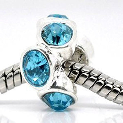 Silver Plated Light Blue Rhinestone Spacer Beads Fit European Bracelet - Sexy Sparkles Fashion Jewelry - 1