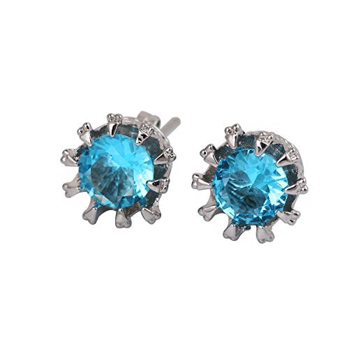 Sexy Sparkles Copper Blue Ear Stud Earrings Cubic Zirconia Inlaid Crown 9mm