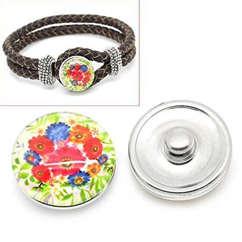 Floral Vintage Design Glass Chunk Charm Button Fits Chunk Bracelet