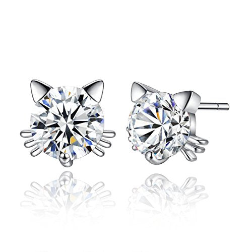 Sexy Sparkles Cat Copper Stud Earrings Cubic Zirconia women teen girls