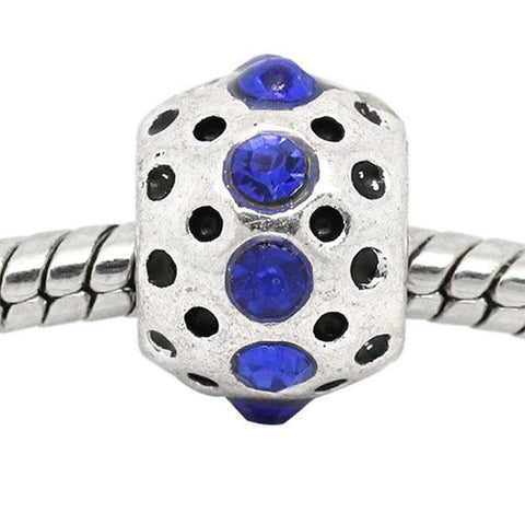 Royal Blue Rhinestone  Birthstone Charm European Bead Compatible for Most European Snake Chain Bracelets - Sexy Sparkles Fashion Jewelry - 4