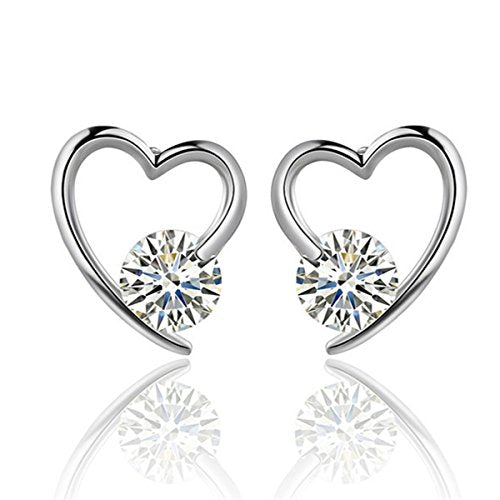 Sexy Sparkles Heart Copper Stud Earrings Cubic Zirconia women teen girls