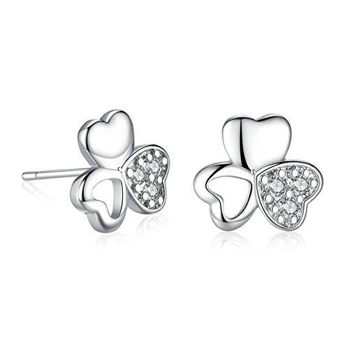 Sexy Sparkles Four Leaf Clover Copper Stud Earrings Cubic Zirconia women teen girls
