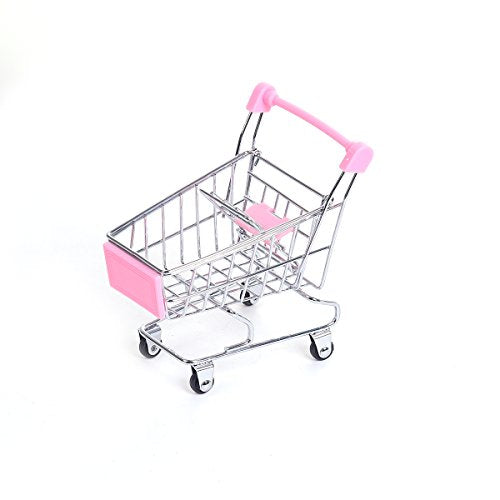 Sexy Sparkles Mini Shopping Cart Trolley for Desktop Decoration Ornament Toys Novelty Mini Toy Shopping Cart - Pen/Pencil/PostIt Holder Desk Accessory (Pink)