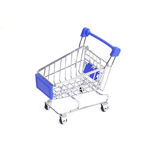 Sexy Sparkles Mini Shopping Cart Trolley for Desktop Decoration Ornament Toys Novelty Mini Toy Shopping Cart - Pen/Pencil/PostIt Holder Desk Accessory (Blue)