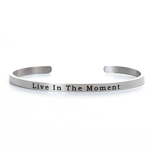 "SEXY SPARKLES Stainless Steel "" Live In the Moment "" Positive Quotes Energy Open Cuff Bangle Bracelet 6 6/8"" By Sexy Sparkles"