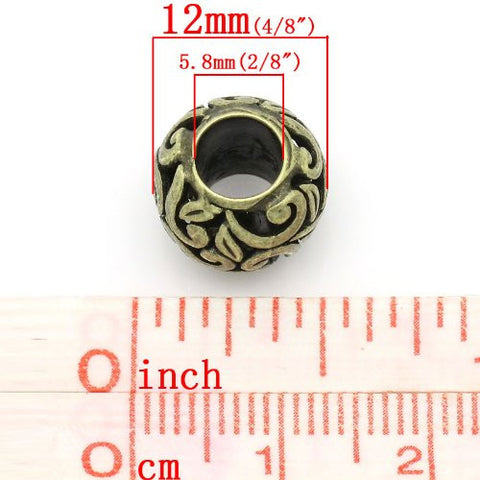 Bronze Flower Spacer European Bead Compatible for Most European Snake Chain Bracelets - Sexy Sparkles Fashion Jewelry - 3