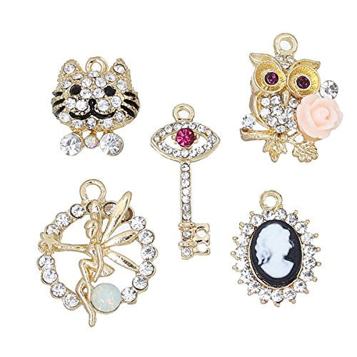5 Mixed Charm Pendants Cat, Fairy, Key, Owl and Face for Bracelet or Necklace