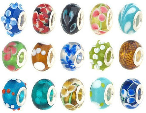 20 Pc Lot Lampwork Murano Glass European Mix Beads For Snake Chain Charm Bracelet - Sexy Sparkles Fashion Jewelry - 1
