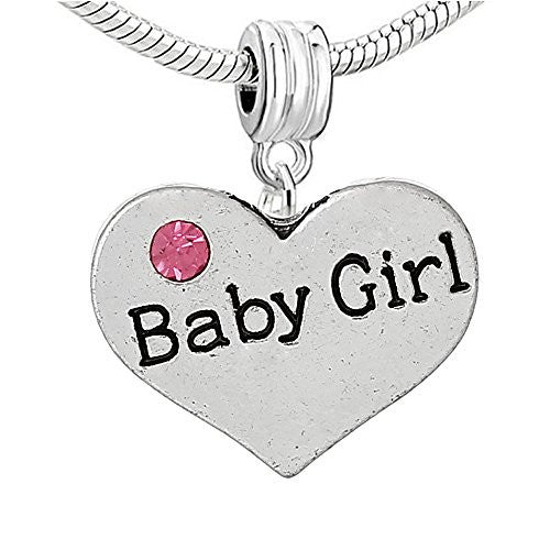 "2 Sided Heart w/Crystal Stones For Snake Chain  ""Baby Girl"""