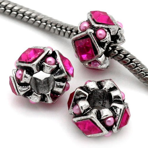 Hot Pink  Rhinestones Bead Charm Spacer For Snake Chain Charm Bracelet - Sexy Sparkles Fashion Jewelry - 2