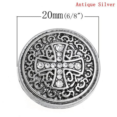 Chunk Snap Buttons Fit Chunk Bracelet Round Antique Silver Cross Pattern Carved Clear Rhinestone 20mm - Sexy Sparkles Fashion Jewelry - 3
