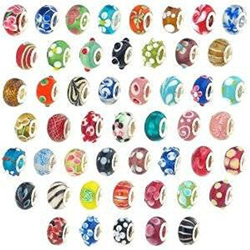 20 Pc Lot Lampwork Murano Glass European Mix Beads For Snake Chain Charm Bracelet