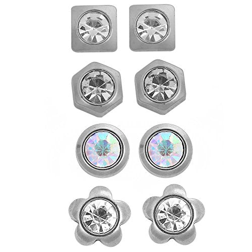 Sexy Sparkles 4 Sets Stainless Steel Ear Post Stud Earrings Silver Tone for Men Women Ear Piercing Earrings