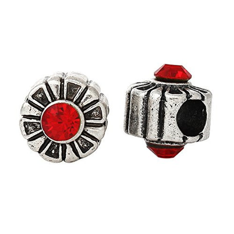 Round Charm Bead W/ Red  Crystal Spacer - Sexy Sparkles Fashion Jewelry - 3