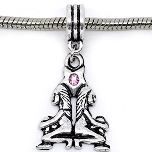 Gemini Zodiac Charm W/pink Crystal Dangle Bead for Snake Bracelets