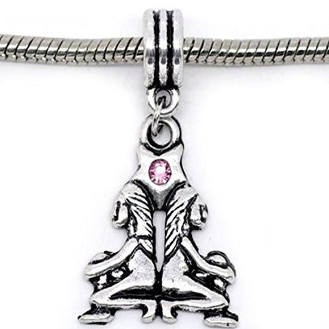 Gemini Zodiac Charm W/pink Crystal Dangle Bead for Snake Bracelets - Sexy Sparkles Fashion Jewelry - 1