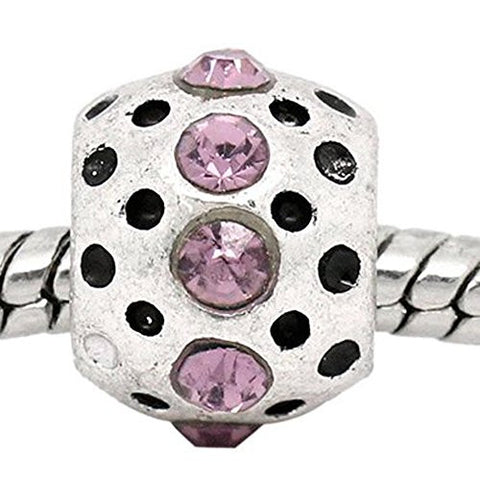 Mauve Rhinestone  Birthstone Charm European Bead Compatible for Most European Snake Chain Bracelets - Sexy Sparkles Fashion Jewelry - 1