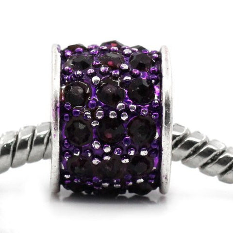 Purple Sparkly Charm w/ Rhinestones for Snake Chain Charm Bracelets - Sexy Sparkles Fashion Jewelry - 4