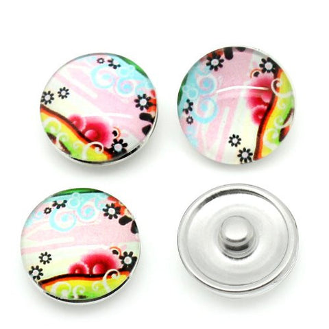 Flower Pattern Glass Chunk Charm Button Fits Chunk Bracelet 18mm for Noosa Style Bracelet - Sexy Sparkles Fashion Jewelry - 3