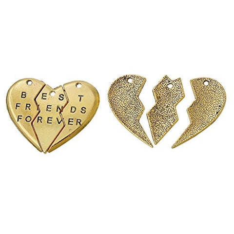 BFF Best Friends Forever 3pc Split Heart Pendant for Necklace - Sexy Sparkles Fashion Jewelry - 3