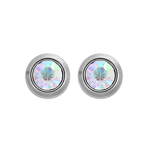 Sexy Sparkles Round Stainless Steel Ear Post Stud Earrings Silver Tone for Men Women Ear Piercing Earrings