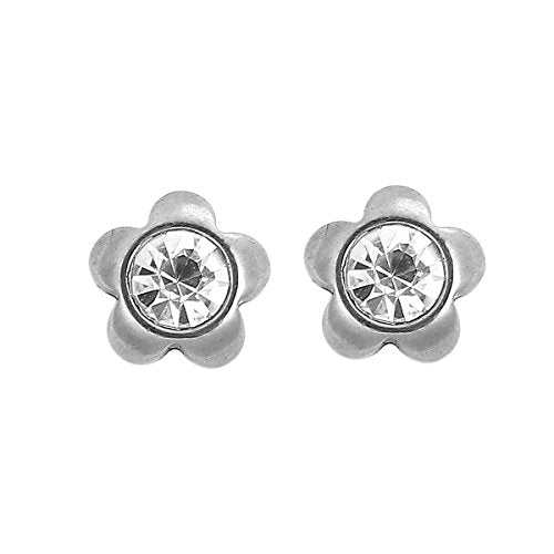 Sexy Sparkles Stainless Steel Ear Post Stud Earrings Silver Tone for Men Women Ear Piercing Earrings