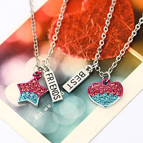 Sexy Sparkles 2 Pcs Set Best Friends  Silver Tone Pentagram Star Heart Pendant Necklace Friendship
