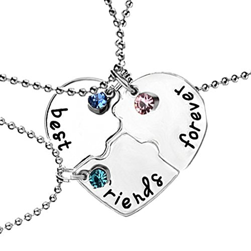 Sexy Sparkles 3 Pcs Set Best Friends Forever and Ever BFF Necklace Engraved Puzzle Friendship Pendant Necklaces Set